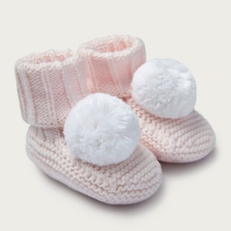 The White Company Knitted Pom-Pom Booties, Pink, 0-6mths