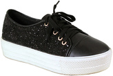 Black Lace-Accent Olga Platform Sneaker