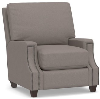 Pottery Barn James Square Arm Upholstered Recliner with Nailheads