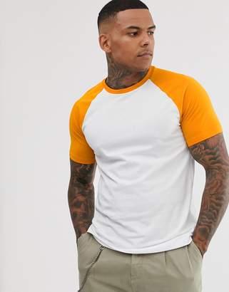 Bershka Join Life raglan t-shirt in orange and white