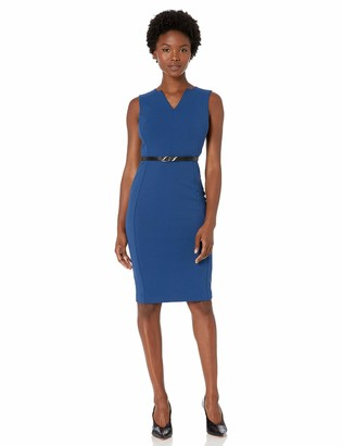 Calvin Klein Women's Sleeveless Belted Sheath with Notch V-Neckline Dress