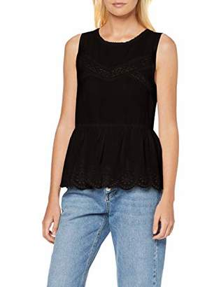 Only Women's onlMONROE S/L TOP WVN Tank Black, 10 (Size:)