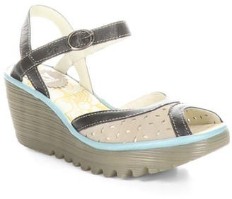 Fly London Women's Sandals 011 - Concrete & Black Perforated Yumo Leather Sandal - Women
