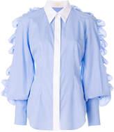 Sara Battaglia striped ruffle sleeve shirt