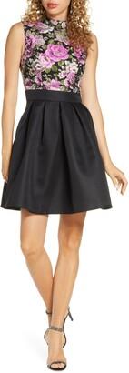 Chi Chi London Sabreen Jacquard Fit & Flare Dress