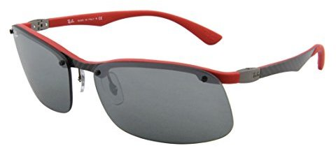 Ray-Ban mens 0RB8314 126/6G63 Tech Carbon Fiber Rectangle Sunglasses,Dark Carbon Red,63 mm