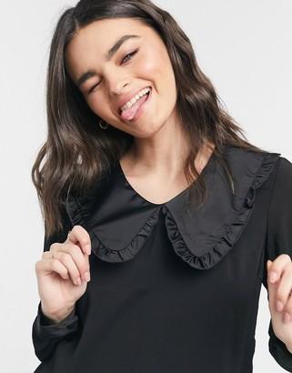 Vero Moda blouse with satin prairie collar in black