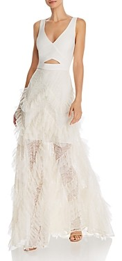 BCBGMAXAZRIA Ruffled Skirt Cutout Gown