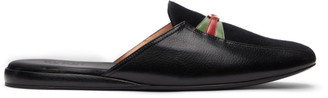 Gucci Black Suede GG Supersofty Slip-On Loafers
