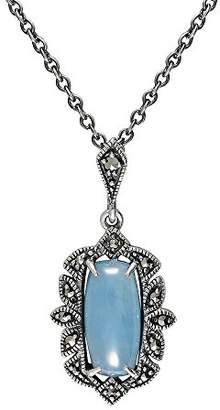 Esse Marcasite Sterling Silver Art Nouveau Blue Jade and Marcasite Necklace of 42-47cm
