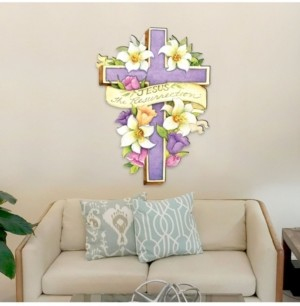 Designocracy by Susan Winget Easter Cross He is Risen, Wall and Lawn Decor