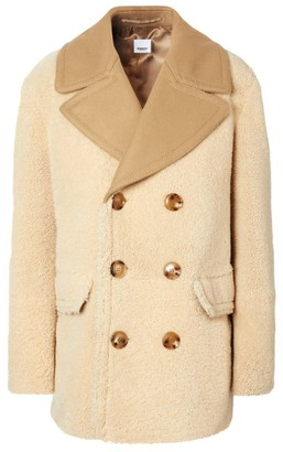 Burberry Shearling Double-Breasted Pea Coat