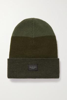 Rag & Bone Addison Striped Wool-blend Beanie - Army green