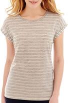 JCPenney STYLUS Stylus Short-Sleeve Eyelet Striped T-Shirt