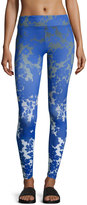 Charlie Jade Floral-Print Performance Leggings, Blue/Gray