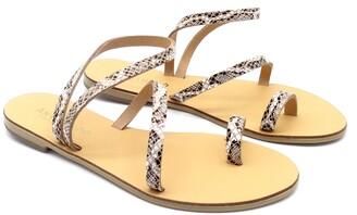 Ancientoo - Toe Ring Sandals Mania White Boa Print