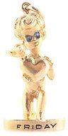 William Ruser 14KT Gold Cherub Valentine Heart Friday's Child Sapphire Pendant $