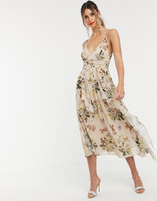 Asos DESIGN cami maxi dress with soft layered skirt and ruched bodice in print