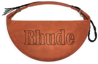 Rhude Logo-Embroidered Leather Messenger Bag