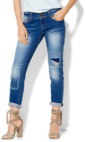 New York & Co. Soho Whipstitch & Destroyed Boyfriend Jeans - Indigo Blue Wash