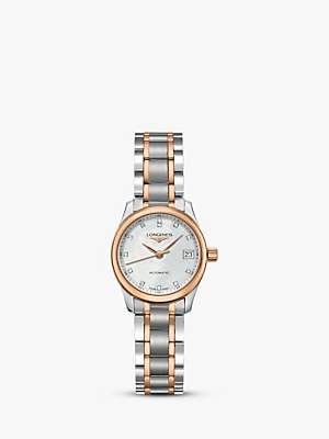 Longines L21285897 Women's Master Collection Automatic Diamond Date Two Tone Bracelet Strap Watch, Silver/Rose Gold