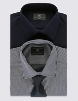 M&s Collection 2 Pack Easy To Iron Shirts With Tie