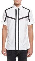 Neil Barrett Contrast-Outline Short-Sleeve Sport Shirt, White/Black