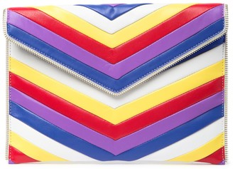 Rebecca Minkoff Leather Chevron Quilted Rainbow Clutch