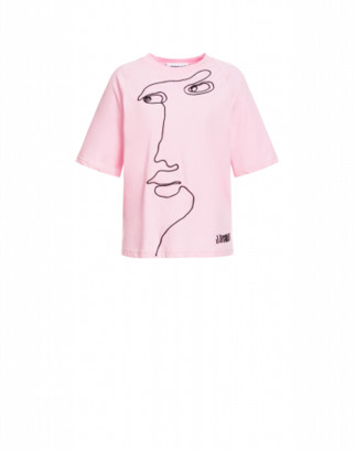 Moschino Jersey T-shirt Cornely Embroidery Woman Pink Size 38 It - (4 Us)