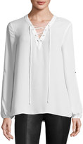 Max Studio Lace-Up Solid Blouse, Ivory