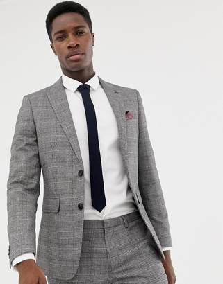 Burton Menswear skinny fit suit jacket in window pane check in red and grey