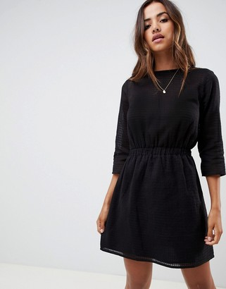 ASOS DESIGN casual elasticated mini dress in grid texture