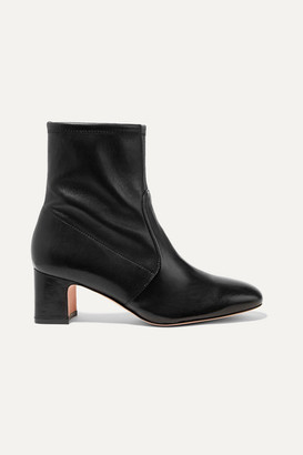 Stuart Weitzman Niki Leather Sock Boots - Black