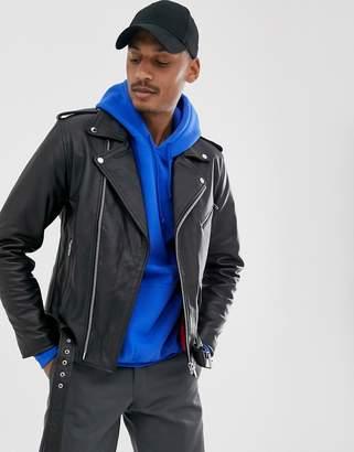 Vintage Supply leather jacket in black with belt