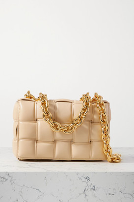 Bottega Veneta Cassette Chain-embellished Padded Intrecciato Leather Shoulder Bag - Beige