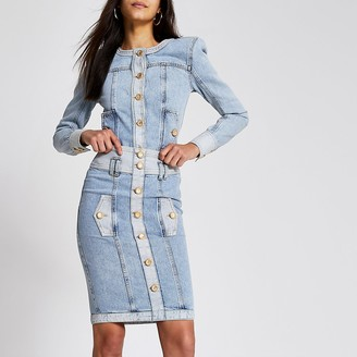 River Island Blue high waisted button denim midi skirt
