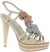 Kelsi Dagger Hania Leather Heeled Sandal With Flower Applique