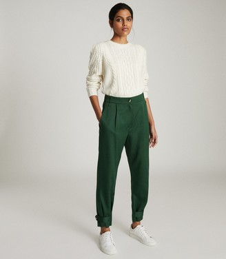 Reiss DUKE PLEAT FRONT TAPERED TROUSERS Green