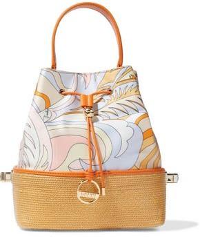 Emilio Pucci Bonita Woven Straw-paneled Printed Satin-twill Bucket Bag