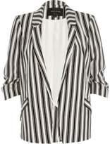 River Island Womens Black mono stripe ruched sleeve blazer