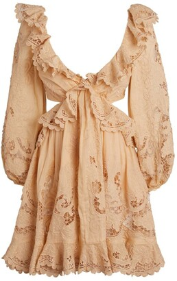 Zimmermann Lace Brighton Cut-Out Mini Dress