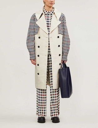 Designers Remix Hailey checked double-breasted recycled cotton-blend trench coat