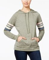 Hippie Rose Juniors' Striped-Sleeve Pullover Hoodie