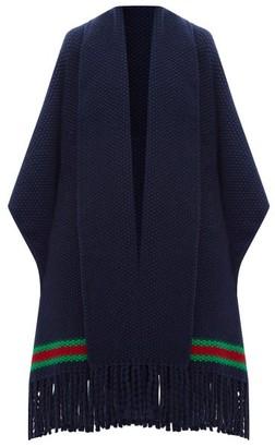 Gucci Oversized Moss-stitch Fringed Wool Cape - Womens - Blue Multi