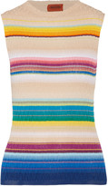 Missoni Striped crochet-knit cotton-blend tank