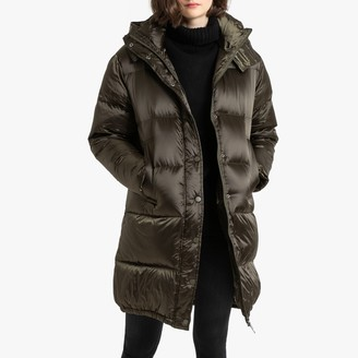 La Redoute Collections Long Water-Repellent Padded Puffer Coat with Hood