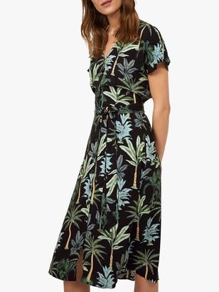 Warehouse Palm Print Midi Dress, Black Pattern