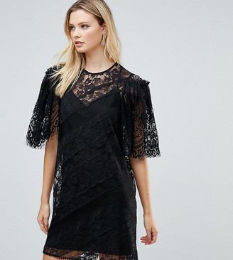 Asos Tall TALL Delicate Lace Patchwork Flutter Sleeve Mini Dress-Black
