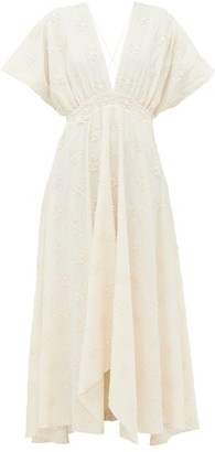 Mes Demoiselles Ophidis Floral-embroidered Cotton Maxi Dress - Cream