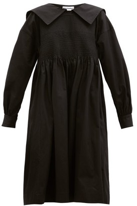 Molly Goddard Greta Shirred Cotton-gabardine Dress - Black